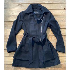 Guess Long Sleeve Wool Coat Tie Front S Black